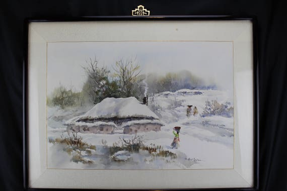 Mid Century Asian Watercolor Painting Winter Landscape Hal Won