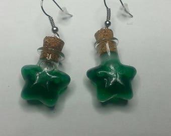 Earring star glass vial