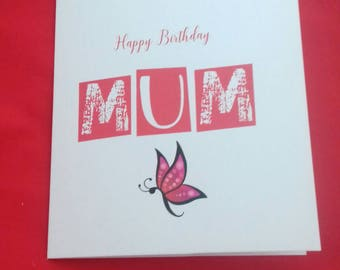 Happy Birthday Mum, Simple Birthday Card For Mum, Plain Card For Mother's Birthday, Butterfly Card For Mom, Birthday Cards,