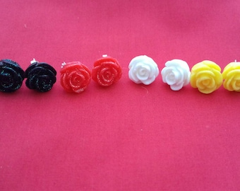 Rose Earring Stud Gift Set, Sparkle Rose Resins, Fashion Jewellery Accessories, Chic Flowers, Bridal wear, Party Jewellery, Event Jewelry