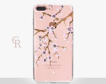 Floral Phone Case - Cherry Blossom - Clear Case - For iPhone 8 - iPhone X - iPhone 7 Plus - iPhone 6 - iPhone 6S - iPhone SE Transparent
