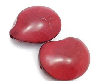 SALE 15% OFF Tagua Nut, flattened red, double-sided, 42 mm, 1 PCs
