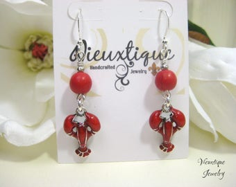 Crawfish Earrings, Red Enamel Crawfish Earrings, Crawfish Jewelry, Louisiana Jewelry, Southern Jewelry, Cajun Jewelry