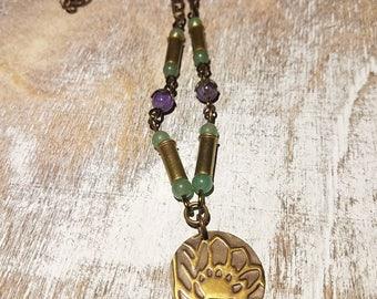 Lotus Embossed Necklace - .22 Caliber Bullet Casings