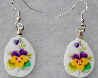 BROKEN CHINA EARRINGS - Pansies  - Free Shipping