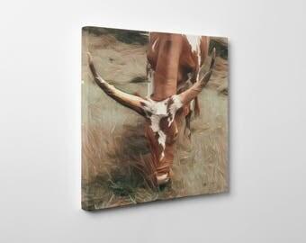 Longhorn Canvas, Longhorn Art, Farmhouse Art, Canvas Art, Gallery Wrapped Canvas