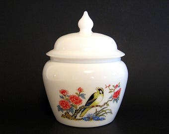 Vintage Ginger Jar Milk Glass Avon Dynasty Candle Holder Vanity Decor