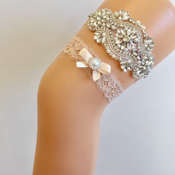 Country Wedding Garters: LEILA Wedding Garter-country Garter-champagne Garter-lace
