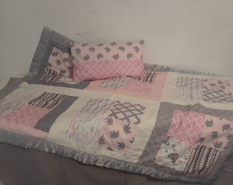 Baby Quilt and Pillow Set- Pink Elephants