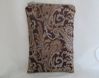 Brocade Tarot Card Bag Brown, Silver with Copper Satin Lining and Zipper Dice Makeup Pouch Fancy