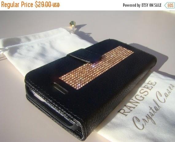 Sale iPhone SE Case /5/ 5s Rose Gold Crystals on Black Wallet Case. Velvet/Silk Pouch bag Included, Genuine Rangsee Crystal Cases.