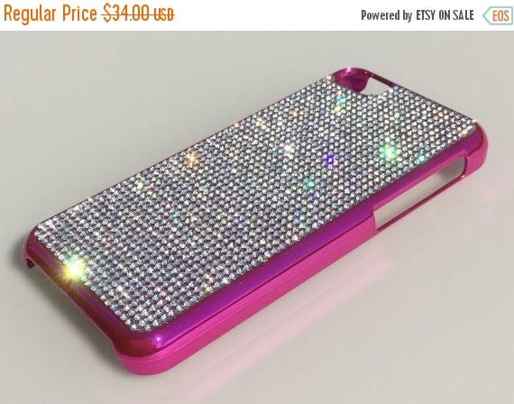 Sale iPhone 5C Clear Diamond Crystals on Pink Electro Plated Plastic Case. Velvet/Silk Pouch Bag Included, Genuine Rangsee Crystal Cases.