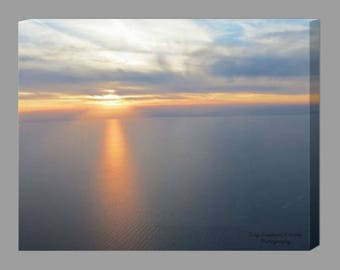 Sunset Canvas / Sunset Photography / Beach House Decor / Lake Michigan Sunset Print