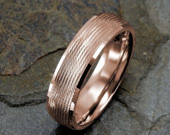 14k Rose Gold Ring, Mens Wedding Band, Wedding Ring, Solid Gold Wedding Band, 6mm Mens Ring, Wedding Band Mens, Rose Mens Rings
