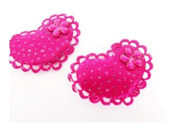 Set of 2 cushions pink fushia hearts Appliques to sew or stick beads