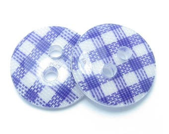 BUTTON 13mm GINGHAM white and purple 2 loops