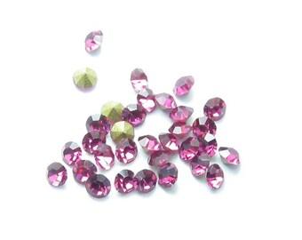 10 rhinestones 2 mm diameter glass cherry