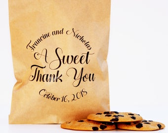 Cookie Favor Bag, Wax Lined Favor Bag, Custom Favor Bag, Popcorn Bag, Dessert Table, Donut Bag, Wedding Favor, Love is Sweet, Midnite Snack