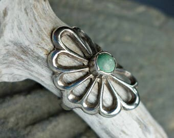 Sandcast Turquoise Sterling Ring