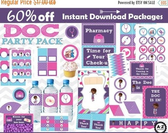 60% OFF Doc McStuffins Birthday Party Package, over 100 items, Instant Download, bundle, Invitation, Set,  Download, Doc Party Printables, c