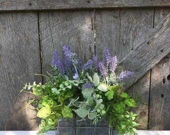 Clearance Summer Floral Arrangement, Fixer Upper Arrangement, Rustic Decor, Greenery Arrangement, Apothecary Jars, Lavender Arrangement, Fre