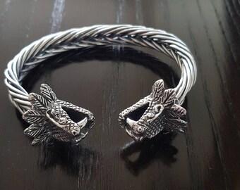 Men 925 Sterling silver Quetzalcoatl bracelet handmade.
