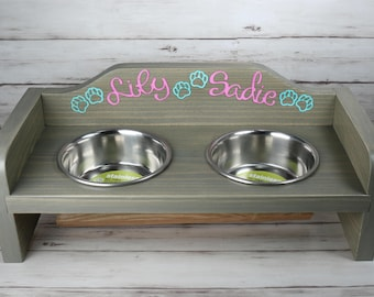 Small Dog or Cat food & water bowls in distressed wooden rack FREE PERSONALIZATION