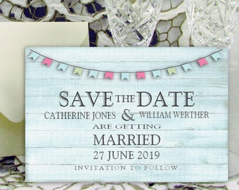 Personalised Save the Date Cards 6x4 inch / 15x10cm Vintage Shabby Chic Wedding Invitations with Envelopes  - Bunting Blue