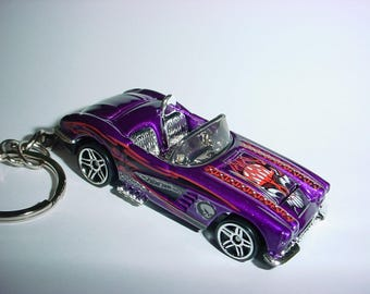 New 3D 1958 Chevrolet Corvette Custom Keychain keyring key chain by Brian Thornton finished in purple/flames racing color trim 58