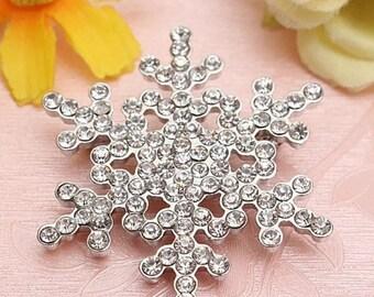 Vintage Style Diamante Silver Snowflake Brooch Pin Rhinestone Bridal Wedding Jewelry
