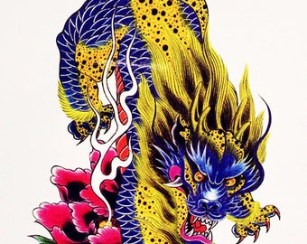 Large Dragon Temporary Tattoo  - Color Body Art Stickers for Men and Women fake tattoos Shoulder, Neck, Arm