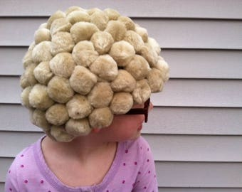 Grandma Wig, 100th day of school, Granny Wig, Old Lady wig, Pom Pom wig, Pom pom hat, Old lady costume, Granny costume, Grandma costume