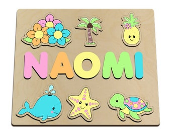 Tropical Pineapple Personalized Wooden Name Puzzle Pine Apple, Flowers, Palm Tree, Whale, Star, Turtle 601286241