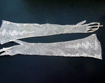 Bridal Wedding Gloves Elbow Lace White Fish Net Crochet Prom Formal Wedding Ideas Anniversary Birthday Bridal Shower Retro Vintage Gift