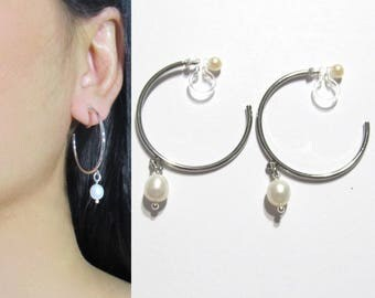 Freshwater Pearl Clip-On Earrings |36H| Silver Hoop Clip On Earrings, Bridal Dangle Clip Earrings, Non Pierced Invisible Clip-ons Earrings