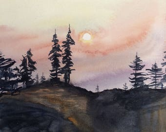 Alpine lakes wilderness, mountain sunset, Mountain firs, pine trees, tree painting, watercolor trees, Pacific Northwest, cascades, trees