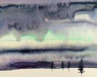 Winter landscape, landscape painting, Sky painting, stormy Sky painting, watercolor landscape, snow painting, cloud painting, pine trees