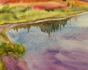 Landscape painting, alpine lakes, Pacific Northwest, mountain lake, watercolor painting, lake painting, landscape watercolor, PNW watercolor