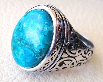 man ring chryscolla natural stone sterling silver 925 oval cabochon semi precious blue gem ottoman arabic style all sizes jewelry