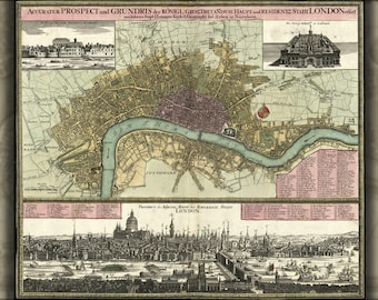Poster, Many Sizes Available; Map Of London In German 1740
