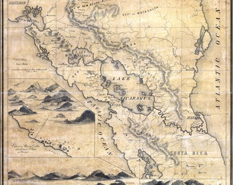 Poster, Many Sizes Available; Geographical Map Of Nicaragua 1855
