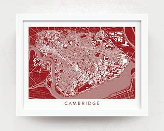 CAMBRIDGE MASSACHUSETTS Map Print - Home Decor - Office Decor - Cambridge Artwork - Poster - Wall Art - University MIT Harvard Gift