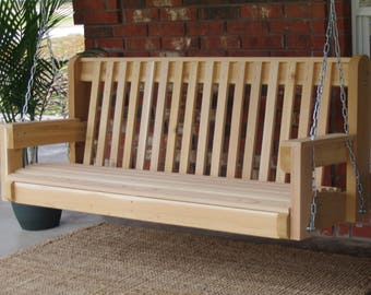 Brand New 5 Foot Cedar Wood High Back Porch Swing with Hanging Chain or Rope - Free Shipping