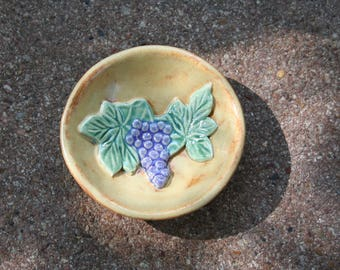 Grape Ring Dish (Beige) made with vintage mold imprint and pressed into custom shape designed at Ek Creations Studio.