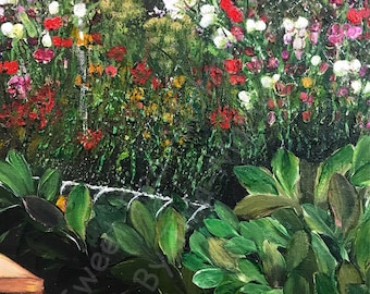 Sweet Pea Allotment - Original Stretched Canvas