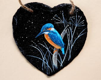 Kingfisher on Slate Heart