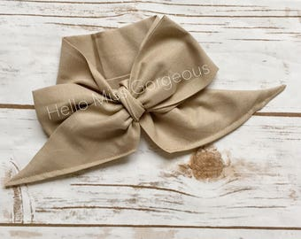 HAZELNUT Gorgeous Wrap- headwrap; fabric head wrap; head wrap; boho; newborn headband; baby headband; toddler headband; bow