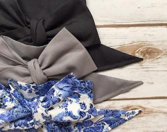 Gorgeous Wrap Trio (3 Gorgeous Wraps)- Noir, Platinum & Victorian Vintage Gorgeous Wraps; headwraps; fabric head wraps; head wraps