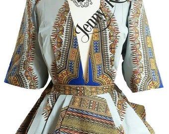 African clothing Peplum Top Dashiki Top Ruffle Top plus size African blouse