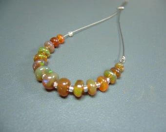 Ethiopian Welo Opal Smooth Rondelle Beads Set of 15